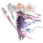 1girl bangs belt blush boots eyebrows flower granblue_fantasy hair_between_eyes hair_flower hair_ornament hair_ribbon half_mask holding japanese_clothes kimono long_hair looking_at_viewer mask masked official_art purple_hair ribbon rosamia_(granblue_fantasy) smile solo standing yellow_eyes yukata