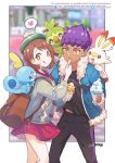 1boy 1girl :q artist_name backpack bag bangs blush brown_backpack brown_eyes brown_hair cardigan chanman_517 commentary_request dark_skin dark_skinned_male dress english_text feeding fur-trimmed_jacket fur_trim gen_5_pokemon gen_8_pokemon green_headwear grey_cardigan grookey heart highres holding holding_spoon hop_(pokemon) ice_cream_cone jacket long_sleeves open_mouth orange_eyes pink_dress pokemon pokemon_(creature) pokemon_(game) pokemon_swsh purple_hair scorbunny shirt short_hair sobble spoken_heart spoon tam_o'_shanter teeth tongue tongue_out vanillish yuuri_(pokemon)