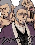 1boy bara beard black_eyes chun_(luxtan) collage collarbone derivative_work facial_hair golden_kamuy japanese_clothes kimono looking_at_viewer male_focus manly multiple_views muscle shaved_head shiraishi_yoshitake simple_background sweatdrop toned toned_male upper_body