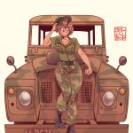 1girl absurdres artist_name beret blue_eyes blush breasts brown_hair camouflage commission hat highres land_rover license_plate original smile solo willy_pete
