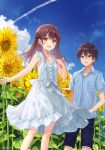 1boy 1girl :d blue_eyes blue_shirt blue_sky blush brown_eyes brown_hair clouds collared_shirt condensation_trail dress flower fukahire_(ruinon) long_hair open_mouth original outdoors plant shirt short_hair short_sleeves shorts sky sleeveless sleeveless_dress smile sundress sunflower white_dress