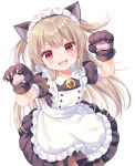 1girl :d alternate_costume animal_ears apron bangs bell black_dress black_gloves blush cat_ears collared_dress commentary_request dress enmaided eyebrows_visible_through_hair frilled_apron frills gloves hands_up highres jingle_bell komachi_pochi light_brown_hair long_hair looking_at_viewer maid maid_headdress natori_sana open_mouth paw_gloves paws pleated_dress puffy_short_sleeves puffy_sleeves red_eyes sana_channel short_sleeves simple_background smile solo two_side_up v-shaped_eyebrows very_long_hair virtual_youtuber white_apron white_background