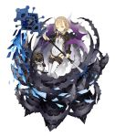 1girl blonde_hair braid briar_rose_(sinoalice) eyebrows_visible_through_hair flat_chest frills full_body holding holding_staff ji_no looking_at_viewer official_art one_eye_closed sinoalice solo staff stuffed_toy tattoo thigh-highs thorns transparent_background yellow_eyes