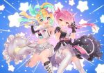 2girls :d amakawa_hano aqua_hair belt bettle_(b_s_a_n) black_dress blonde_hair blue_background bow dress hair_bow hair_ornament hairclip hand_up himekuma_ribon holding holding_microphone long_hair looking_at_viewer microphone multicolored_hair multiple_girls official_art open_mouth pink_bow pink_hair pink_ribbon pointing pointing_at_viewer re:act red_eyes ribbon smile star_(symbol) star_hair_ornament thigh-highs twintails two-tone_hair virtual_youtuber white_legwear wristband