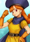 1girl alena_(dq4) arm_up belt_buckle blue_cape buckle cape clenched_hand dragon_quest dragon_quest_iv earrings gloves hand_on_hip jewelry long_hair looking_at_viewer orange_gloves orange_hair red_eyes shirt short_sleeves smile solo usui_natrium yellow_shirt