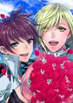 2boys :d asbel_lhant blue_eyes blue_sky bouquet brown_hair clouds cloudy_sky eyes_visible_through_hair flower green_hair heterochromia looking_at_viewer male_focus multiple_boys open_mouth red_flower red_rose richard_(tales) rose sky smile tales_of_(series) tales_of_graces upper_body usagi_nagomu violet_eyes yellow_eyes