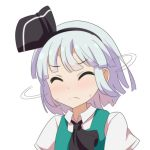 1girl aqua_vest ascot black_hairband black_neckwear cato_(monocatienus) closed_eyes commentary_request eyebrows_visible_through_hair frown hairband konpaku_youmu motion_lines portrait shaking_head shirt short_hair short_sleeves silver_hair simple_background solo sweat touhou white_background white_shirt
