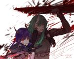 2girls alternate_costume arknights artist_request attack blood blood_from_mouth blood_on_face blue_hair ch'en_(arknights) covering dragon_horns green_hair hannya_(arknights) highres holding holding_shield horns hoshiguma_(arknights) injury long_hair multiple_girls necktie oni oni_horns shield single_horn