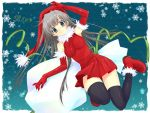 elbow_gloves gloves hat long_hair original santa santa_costume santa_hat seiro silver_hair solo thigh-highs thighhighs touto_seiro zettai_ryouiki