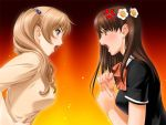 blonde_hair brown_hair catfight game_cg queen_bonjourno sakurazaka_megumi sano_toshihide twintails