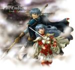 blue_eyes blue_hair earrings eirika ephraim fire_emblem fire_emblem:_seima_no_kouseki fire_emblem_sacred_stones jewelry polearm siblings skirt spear sword thigh-highs thighhighs twins weapon zettai_ryouiki
