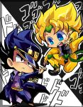 2boys black_eyes black_hair blonde_hair blue_eyes chibi cosplay dio_brando dio_brando_(cosplay) dragon_ball dragon_ball_z hat jojo_no_kimyou_na_bouken kuujou_joutarou kuujou_joutarou_(cosplay) motsu_(40217141) multiple_boys son_gokuu super_saiyan vegeta