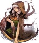 1girl arrow belt bow_(weapon) braid brown_eyes cloak dragon's_crown elf elf_(dragon's_crown) flat_chest hood pointy_ears sho-n-d silver_hair solo tunic twin_braids weapon