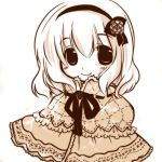 alice_margatroid bust capelet embroidery futami_yayoi hairband looking_at_viewer monochrome neck_ribbon ribbon short_hair smile solo touhou