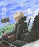 blonde_hair brown_eyes cockpit eyepatch flying original pilot sougansouji tattoo unagi_(sougansouji)