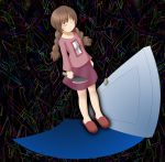 braid brown_hair cleaver closed_eyes door knife madotsuki naka skirt solo twin_braids yume_nikki