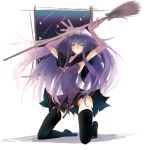 broom elbow_gloves gloves kneeling long_hair malariya mugen_dai no_panties original purple_hair quiz_magic_academy solo thigh-highs thighhighs zettai_ryouiki