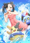 1girl ;d absurdres arms_up asymmetrical_bangs bangs black_choker black_hair choker croagunk day dress dutch_angle gen_4_pokemon gen_8_pokemon green_eyes hair_ribbon highres innertube looking_at_viewer mary_(pokemon) medium_hair morpeko negimiso1989 one_eye_closed open_mouth outdoors pink_dress pink_ribbon pokemon pokemon_(creature) pokemon_(game) pokemon_swsh ribbon shiny shiny_hair short_dress sleeveless sleeveless_dress smile summer twintails wading water