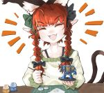 1girl ^_^ animal_ears bigcat_114514 braid cat_ears cat_girl cat_tail closed_eyes commentary dreadnought emphasis_lines english_commentary extra_ears fangs green_shirt hair_ribbon happy kaenbyou_rin miniature multiple_tails open_mouth paintbrush painting pointy_ears redhead ribbon shirt simple_background smile solo table tabletop_game tail touhou twin_braids twintails twitter_username ultramarines warhammer_40k white_background