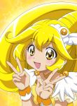 1girl :d absurdres anime_coloring bangs blonde_hair blush choker cure_peace dearigazu2001 double_v eyebrows_visible_through_hair hair_between_eyes highres long_hair open_mouth precure shiny shiny_hair short_sleeves smile smile_precure! solo star_(symbol) upper_body v wrist_cuffs yellow_background yellow_choker yellow_eyes