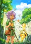 1boy :d aipom bangs beedrill belt bob_cut butterfly_net butterfree clouds collared_shirt commentary_request day eyebrows_visible_through_hair fon-due_(fonfon) gen_1_pokemon gen_2_pokemon green_shirt green_shorts hand_net holding_butterfly_net knees open_mouth outdoors pink_eyes pointing pokemon pokemon_(creature) pokemon_(game) pokemon_hgss purple_hair shirt short_sleeves shorts sky smile standing teeth tongue tree tsukushi_(pokemon) upper_teeth yellow_neckwear