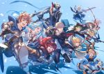 arc_system_works black_jacket blazblue blazblue:_cross_tag_battle blonde_hair blue_background blue_eyes blue_hair blush brown_hair charlotta_fenia closed_eyes closed_mouth confetti es_(xblaze) fedora fingerless_gloves gloves gran_(granblue_fantasy) granblue_fantasy granblue_fantasy_versus green_eyes green_hair harvin hat hazama highres holding holding_sword holding_weapon izanagi jacket jin_kisaragi katana long_hair lyria_(granblue_fantasy) narmaya_(granblue_fantasy) narukami_yuu official_art open_mouth persona persona_4 purple_hair redhead ruby_rose rwby shadow simple_background smile sword very_long_hair weapon zeta_(granblue_fantasy)