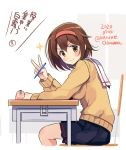 >:) 1girl black_skirt blush breasts brown_eyes brown_hair cardigan chair cropped_legs dated from_side hair_between_eyes hairband holding holding_pencil kantai_collection long_sleeves looking_at_viewer mechanical_pencil medium_breasts odawara_hakone orange_hairband pencil pencil_case pleated_skirt shiratsuyu_(kantai_collection) short_hair skirt smile solo star_(symbol) translation_request twitter_username v yellow_cardigan