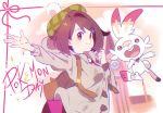 1girl backpack bag bangs breasts brown_backpack brown_eyes brown_hair cardigan clenched_hand closed_mouth commentary_request copyright_name dress gen_8_pokemon goku-chan green_headwear grey_cardigan hands_up highres pink_dress pokemon pokemon_(creature) pokemon_(game) pokemon_swsh scorbunny smile tam_o'_shanter yuuri_(pokemon)