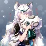 1girl animal_ear_fluff animal_ears arknights bell braid closed_eyes commentary leopard_ears leopard_tail long_hair nitchi pramanix_(arknights) silver_hair smile snow solo tail tail_hug upper_body very_long_hair