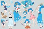 1girl ^_^ alternate_costume betuni blue_eyes blue_hair blue_sailor_collar blush closed_eyes closed_mouth cosplay eevee fishing_rod flip-flops food fork freckles gen_1_pokemon gen_7_pokemon grey_background hairband highres holding holding_fishing_rod holding_fork holding_poke_ball joy_(pokemon) joy_(pokemon)_(cosplay) multiple_views on_head one-piece_swimsuit open_mouth plate poke_ball poke_ball_(basic) pokemon pokemon_(anime) pokemon_(creature) pokemon_on_head pokemon_sm_(anime) popplio sailor_collar sandals shirt short_hair sleeveless smile suiren_(pokemon) swimsuit swimsuit_under_clothes thought_bubble toes water