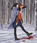 1girl am4_pm4 animal animal_ears black_hair blood blood_stain blue_eyes chainsaw_man coat dead_animal forest fox fox_ears fox_tail full_body gloves highres long_hair mole mole_under_eye mole_under_mouth nature pantyhose santa_claus_(chainsaw_man) smile snow solo tail tree winter winter_clothes winter_coat