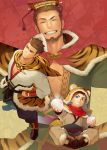 1boy animal_ears animal_print arm_guards baozi beard blue_eyes brown_footwear brown_hair butterfly_sitting commentary_request facial_hair food fur_trim green_tunic grin hand_on_hip hat highres itto_(mentaiko) male_focus sangokushi_puzzle_taisen scarf sitting smile standing sun_quan tiger tiger_ears tiger_print