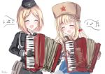 2girls accordion artist_name black_gloves blonde_hair blush braid cherry_hair_ornament closed_eyes eyebrows_visible_through_hair food_themed_hair_ornament girls_frontline gloves hair_ornament hat highres instrument long_hair martinreaction medium_hair military military_hat military_uniform mp40_(girls_frontline) multiple_girls musical_note musical_note_print open_mouth papakha ppsh-41_(girls_frontline) uniform white_background