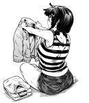 1girl fukumaaya highres hood hoodie inoue_mari jimiko looking_back low_twintails marumaru_shikaji_ka plump shirt short_shorts short_twintails shorts sitting solo striped striped_shirt tank_top thick_eyebrows twintails