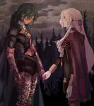 2girls absurdres benchmarkz blood byleth_(fire_emblem) byleth_(fire_emblem)_(female) cape clouds edelgard_von_hresvelg fire_emblem fire_emblem:_three_houses garreg_mach_monastery_uniform gloves green_hair hair_ribbon highres holding_hands injury long_hair looking_at_another medium_hair multiple_girls purple_ribbon rain ribbon silver_hair standing very_long_hair