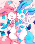 ;o alternate_color artist_name blue_fur blue_scarf bow closed_eyes feet_together gen_6_pokemon highres lying no_humans on_bed on_side one_eye_closed pink_blanket pink_fur pointy_ears pokemon pokemon_(creature) purpleninfy ribbon scarf shiny_pokemon smartwatch sylveon tail white_fur