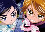 2girls anime_coloring bangs black_hair black_legwear blue_eyes blurry blurry_background bow brown_eyes brown_hair bruise_on_face clenched_teeth closed_mouth cure_black cure_white dearigazu2001 earrings ferris_wheel futari_wa_precure hair_between_eyes heart heart_earrings highres jewelry looking_at_viewer multiple_girls precure shiny shiny_hair swept_bangs teeth white_bow