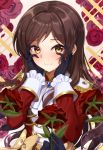 4girls absurdres bangs black_gloves black_rabbit blush brown_hair closed_mouth epaulettes flower gloves highres holding holding_flower idolmaster idolmaster_million_live! idolmaster_million_live!_theater_days kitazawa_shiho long_hair long_sleeves looking_at_viewer multiple_girls parted_bangs red_flower red_rose rose solo_focus sweat upper_body yellow_eyes