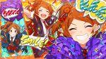 blush closed_eyes dress idolmaster_million_live!_theater_days long_hair oogami_tamaki orange_hair smile