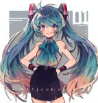 1girl alternate_costume blue_bow blue_hair bow bracelet character_name commentary copyright_name cowlick hands_on_hips hatsune_miku headset highres jewelry kouhara_yuyu pencil_skirt skirt smile solo twintails violet_eyes vocaloid