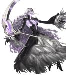 1girl black_dress black_footwear bone boots dress facial_mark fingernails fire_emblem fire_emblem_heroes floating floating_object full_body grey_hair hel_(fire_emblem) high_heel_boots high_heels highres holding holding_weapon kozaki_yuusuke lips long_dress long_fingernails long_hair long_sleeves looking_away official_art purple_nails scythe see-through skirt solo torn_clothes torn_skirt transparent_background turtleneck weapon wide_sleeves