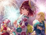 3girls alt atelier_(series) atelier_sophie blonde_hair blush brown_hair candy_apple commentary_request cornelia_(atelier) eyebrows_visible_through_hair fan fireworks floral_print food graphite_(medium) hair_between_eyes highres holding holding_fan holding_food japanese_clothes kimono long_hair long_sleeves looking_at_viewer looking_up mask mask_on_head monika_ellmenreich multiple_girls obi orange_eyes paper_fan pink_hair pouch sash short_hair smile sophie_neuenmuller traditional_media wide_sleeves yellow_eyes yukata