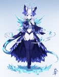 1girl :o animal_ear_fluff animal_ears bare_shoulders black_gloves black_sleeves blue_background blue_leotard blush_stickers breasts center_opening curled_horns detached_sleeves full_body gloves gradient gradient_background hand_up highres horns ice kazana_(sakuto) leotard long_hair long_sleeves looking_at_viewer no_shoes original parted_lips purple_legwear silver_hair small_breasts snowflakes solo standing standing_on_one_leg thigh-highs very_long_hair violet_eyes white_background wide_sleeves