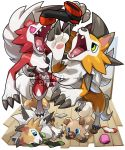 artist_name blue_eyes claws fangs gen_7_pokemon green_eyes lycanroc lycanroc_(dusk) lycanroc_(midday) lycanroc_(midnight) lying no_humans on_side open_mouth pokemon pokemon_(creature) red_eyes rockruff sifyro smile tail