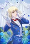 1boy blonde_hair blue_flower blue_pants blue_suit dated flower gloves green_eyes hand_on_own_cheek hand_up highres male_focus pants rook_hunt sagachin0124 smile solo standing twisted_wonderland vest white_gloves