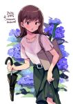 1girl blush brown_eyes brown_hair collarbone dated eyebrows_visible_through_hair feet_out_of_frame flower food green_skirt holding holding_umbrella hydrangea kantai_collection long_hair odawara_hakone ooi_(kantai_collection) open_mouth purple_flower shirt short_sleeves simple_background skirt solo spring_onion twitter_username umbrella vegetable wet wet_clothes white_background white_shirt