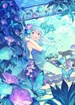 1girl :d ahoge animal bangs bare_arms bare_shoulders black_cat blue_bow blue_dress blue_flower blue_hair blush bow bracelet breasts bug butterfly cat commentary_request dress earrings eyebrows_visible_through_hair floating_hair floral_print flower hair_between_eyes hair_flower hair_ornament hand_up highres ikari_(aor3507) indoors insect jewelry long_hair medium_breasts open_mouth original print_dress purple_flower sleeveless sleeveless_dress smile solo standing stud_earrings twitter_username very_long_hair violet_eyes white_flower wind_chime