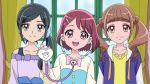 3girls :d anime_coloring bangs black_hair blue_scrunchie blunt_bangs brown_eyes brown_hair closed_mouth collarbone curtains dearigazu2001 flower grey_eyes hair_flower hair_ornament hair_over_shoulder hair_scrunchie hairclip hanadera_nodoka healin'_good_precure highres hiramitsu_hinata hood hood_down hooded_jacket indoors jacket long_hair long_sleeves looking_at_viewer multiple_girls open_clothes open_jacket open_mouth parted_bangs precure purple_jacket sawaizumi_chiyu scrunchie shiny shiny_hair shirt short_hair side_ponytail smile stethoscope twintails upper_body yellow_shirt