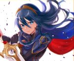 1girl black_gloves blue_eyes blue_hair cape closed_mouth falchion_(fire_emblem) fingerless_gloves fire_emblem fire_emblem_awakening gloves haru_(nakajou-28) holding holding_sword holding_weapon long_hair lucina lucina_(fire_emblem) solo sword tiara upper_body weapon