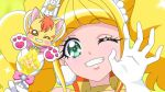 1girl anime_coloring bangs blonde_hair blunt_bangs choker cure_sparkle dearigazu2001 eyebrows_visible_through_hair gloves green_eyes grin healin'_good_precure highres holding long_hair looking_at_viewer nyatoran_(precure) one_eye_closed portrait precure shiny shiny_hair smile solo white_gloves yellow_choker